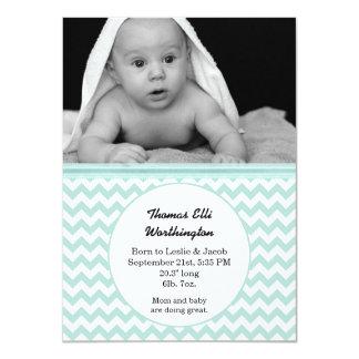 Mint & White Chevron Baby Birth Announcement