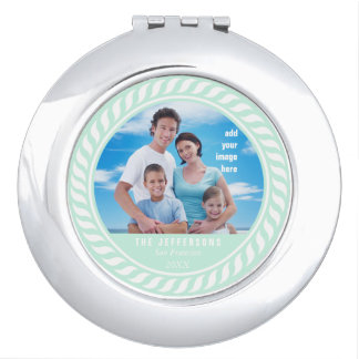 Mint White Color Clock Picture Frame Vanity Mirror