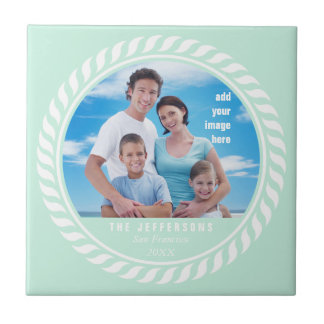 Mint White Color Nautical Picture Frame Tile