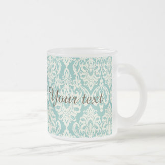mint,white,damasks,vintage,victorian,trendy,chic,f frosted glass mug