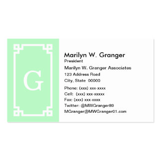 Mint White Greek Key Frame #2 Initial Monogram Pack Of Standard Business Cards