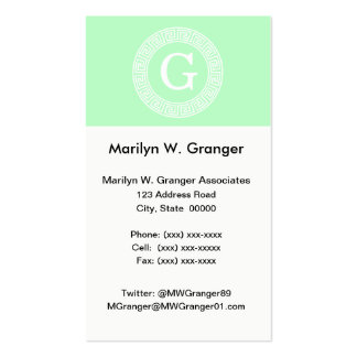 Mint White Greek Key Rnd Frame Initial Monogram Pack Of Standard Business Cards