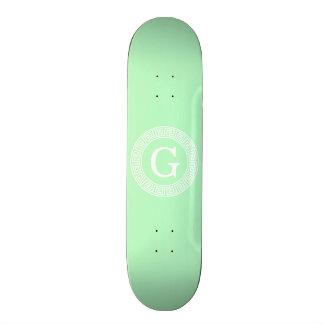 Mint White Greek Key Rnd Frame Initial Monogram Skate Boards