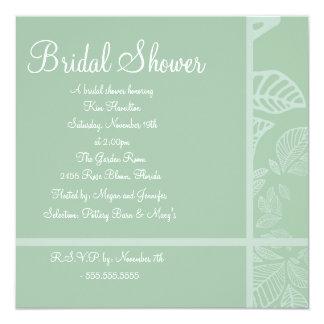 Mint & White Leaf Bridal Shower Invitation