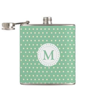 Mint White Polka Dots Pattern | Monogram Hip Flask