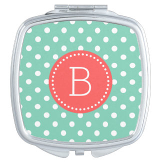 Mint & White PolkaDot Pattern Coral Accents Vanity Mirror