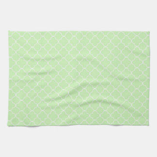 Mint White Quatrefoil Kitchen Cloth Towel