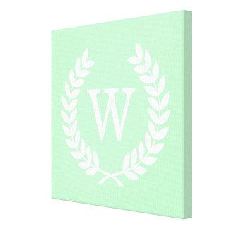 Mint White Wheat Laurel Wreath Initial Monogram Stretched Canvas Print
