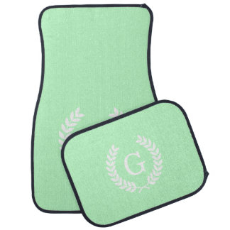 Mint White Wheat Laurel Wreath Initial Monogram Floor Mat