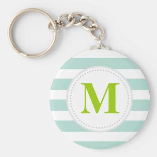 Mint Wide Stripes Custom Monogram Key Ring