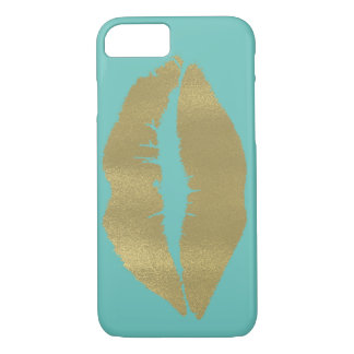 Mint with Gold Lips iPhone 7 Case