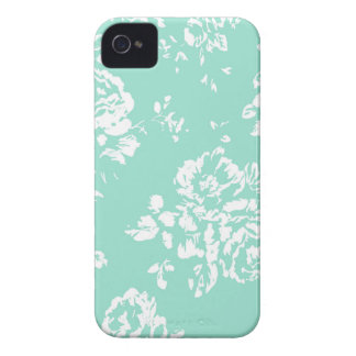 Mint with White Floral Pattern iPhone 4 Cases