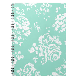 Mint with White Floral Pattern Notebooks