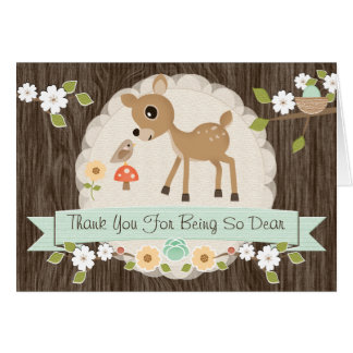 MINT WOODLAND DEER BABY SHOWER THANK YOU CARD
