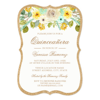 Mint, Yellow and Gold Quinceañera Invitations