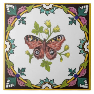 Minton Butterfly Hand-Colored c.1870 Tile Repro
