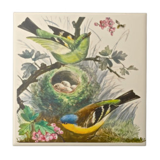 Minton Hand Painted Birds Berries Late 1800s Repro Small Square Tile