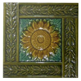Minton Stoke on Trent Sunflower Majolica Tile