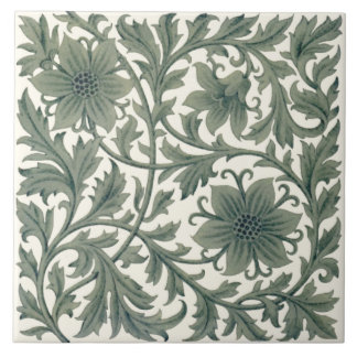 Minton Wm Morris Style Repro 1890s Tile on Cream