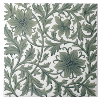 Minton Wm Morris Style Repro 1890s Tile on White