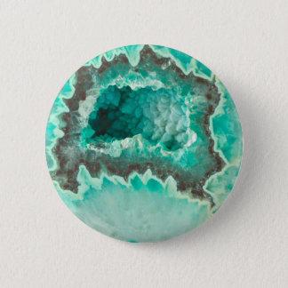 Minty Geode Crystals 6 Cm Round Badge