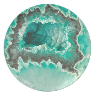Minty Geode Crystals Plate