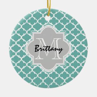 Minty Green and Gray Moroccan Quatrefoil Monogram Round Ceramic Decoration