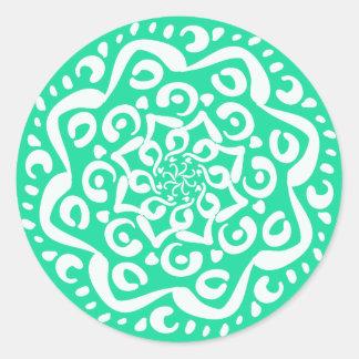 Minty Mandala Round Sticker