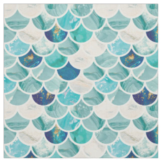 Minty Marble Mermaid fish scales pattern Fabric