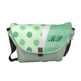 Minty Pastel Polka Dots and Stripes with Monogram Messenger Bag
