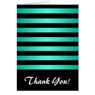 Minty Turquoise and Black Stripes Pattern Card