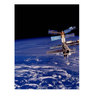Mir Space Station floating above the Earth Postcard