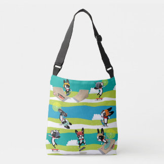 Mirabelle the boston terrier skateboarder Sk8r Crossbody Bag