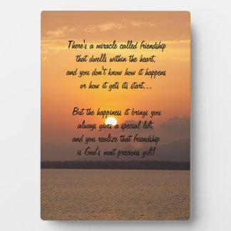 Miracle of friendship Poem Plaque