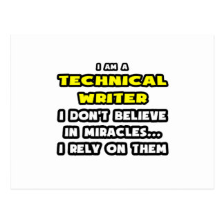 Miracles and Technical Writers ... Funny Postcard