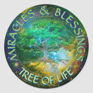 Miracles & Blessings Tree of Life Round Sticker