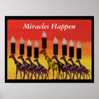 Miracles Happen GiraffesHannukah Menorah Print