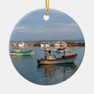 Mirissa Sri Lanka Fishing boats Round Ceramic Decoration
