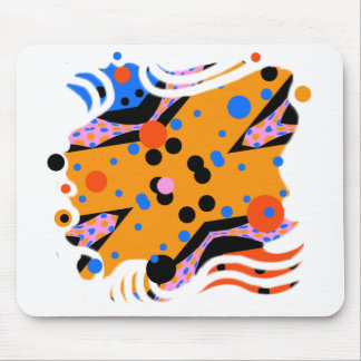 Miro like Abstract art in mustard yellow and blue Mouse Pad