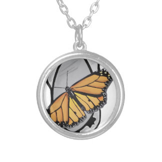 Mirror Butterfly Silver Plated Necklace