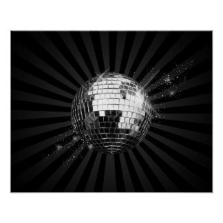 Mirror Disco Ball on Black Posters