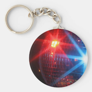 Mirror disco rotating ball with laser lights basic round button key ring