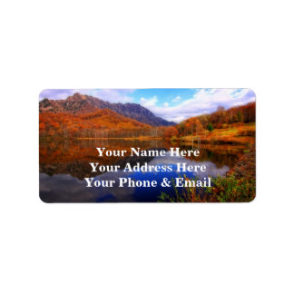 Mirror Lake Autumn Landscape Reflection Water Fall Address Label