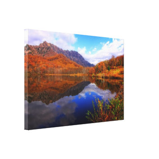 Mirror Lake Autumn Landscape Reflection Water Fall Stretched Canvas Print