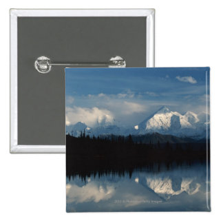 Mirror Lake Horizon with Forest Snowy Mountains Pinback Buttons
