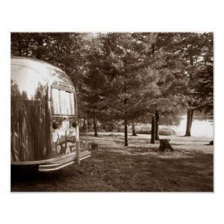 Mirror Lake Retro Camper Tin Can Sepia Print