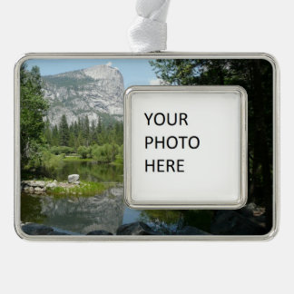 Mirror Lake View in Yosemite National Park Silver Plated Framed Ornament