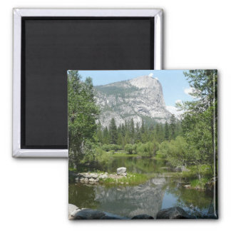 Mirror Lake View in Yosemite National Park Square Magnet