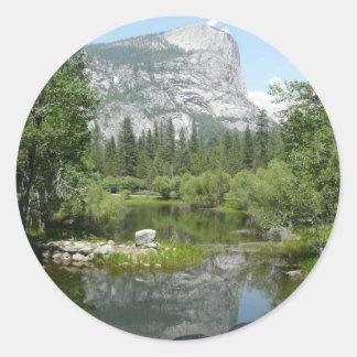 Mirror Lake View in Yosemite National Park Classic Round Sticker