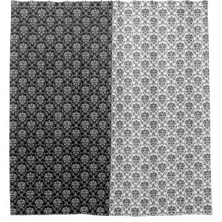 Mirror Opposites Black and White Damask Shower Curtain